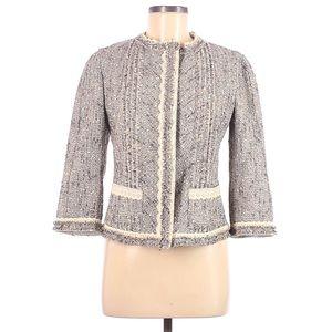 Prada Wool Linen Cotton Grey Tweed Summer Blazer